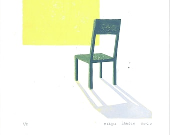 Chair - original linocut print