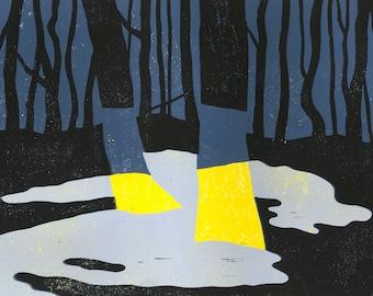In the headlights, winter version - linocut print