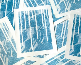 Landscape with walls - cyanotype print