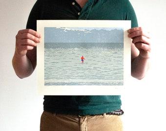 Zwemmer in Harlingen - original linocut print