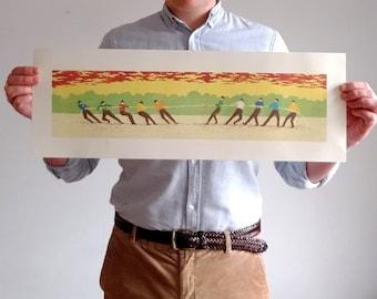 Touwtrekkers - original linocut print - panorama