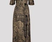 Vintage Finnwear dress vintage Scandinavian dress maxi floral dress vintage angel sleeved dress size XS