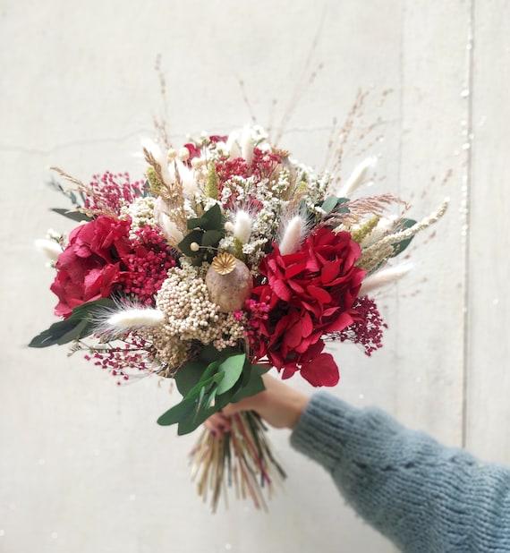 Bouquet de fleurs séchées carmin