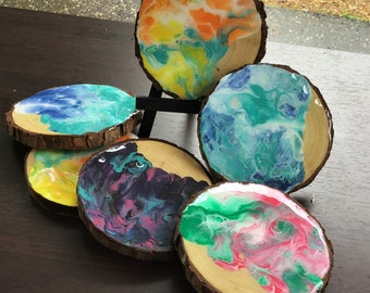 Live Edge Hand painted Coasters/Cupcake Stands/Home Decor/Limited Edition