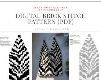 Zebra Brick Stitch pattern for fringe beaded earrings, zebra skin pattern, DIY beaded earrings pattern, striped earrings, animal print PDF