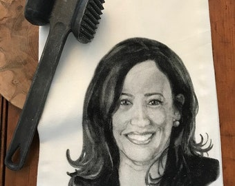 KAMALA HARRIS! tea towel from my original illustration 100% Cotton printed in Maine with eco friendly inks. FREE Gift Wrap!!!!