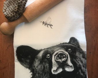 BEAR with BEE tea towel from my original illustration 100% Cotton printed in Maine with eco friendly inks. FREE gift wrap!!!!!