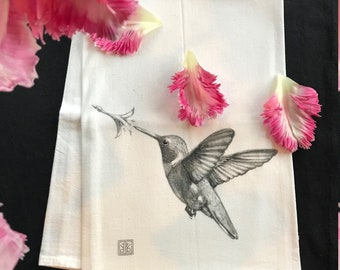 HUMMING BIRD    tea towel from my original illustration 100% Cotton printed in Maine with eco friendly inks. FREE Gift Wrap!!