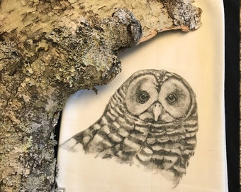 BARRED OWL    tea towel from my original illustration 100% Cotton printed in Maine with eco friendly inks. FREE Gift Wrap!!