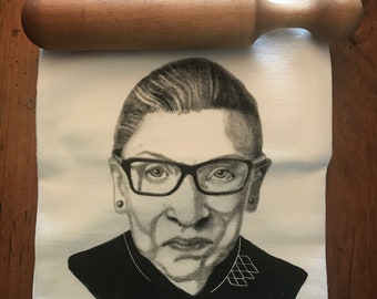 RUTH BADER GINSBURG! tea towel from my original illustration 100% Cotton printed in Maine with eco friendly inks. Free Gift Wrap!