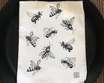 BEE tea towel from my original illustration 100% Cotton printed in Maine with eco friendly inks. FREE gift wrap!!!!!