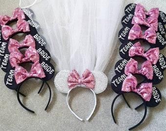 Minnie Mouse Hen Do VEIL SET Pink Headband Fancy Dress Disney Paris Theme SALE