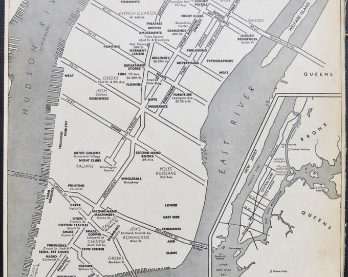 Vintage NYC maps of New York City ~ Old map art wall decor for home or office ~ Ready to frame