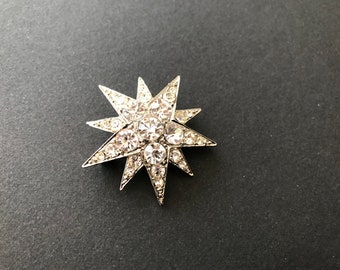 Butler and Wilson Clear AB Crystal Enamel Double Star Small Drop Earrings NEW