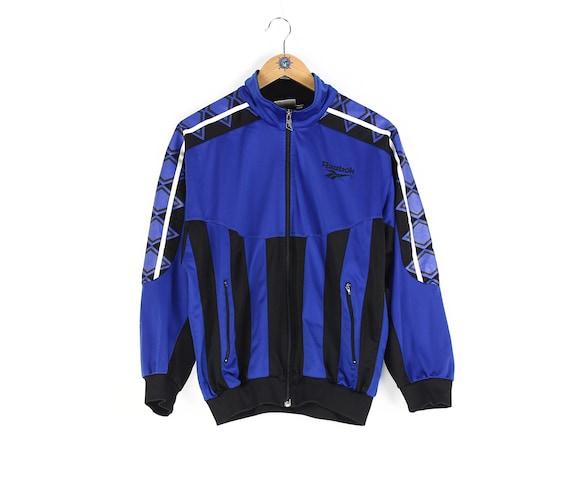 Vintage 90s REEBOK Windbreaker Jacket Side Tape Design Navy Blue Colour Embroidered Logo Casual Sportwear Size XL