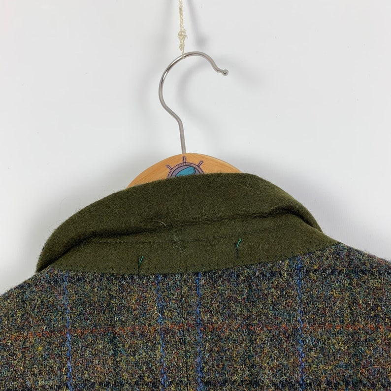 Men/'s HARRIS TWEED Canda authentic green plaid pattern wool blazer jacket Size L XL eu 52 retro style outfit button up