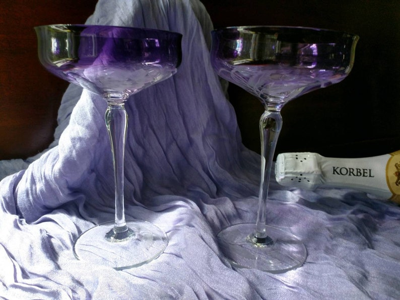 Exquisite Vintage Set of 2 Champagne Coupe Glasses a lovely wedding gift and very collectable