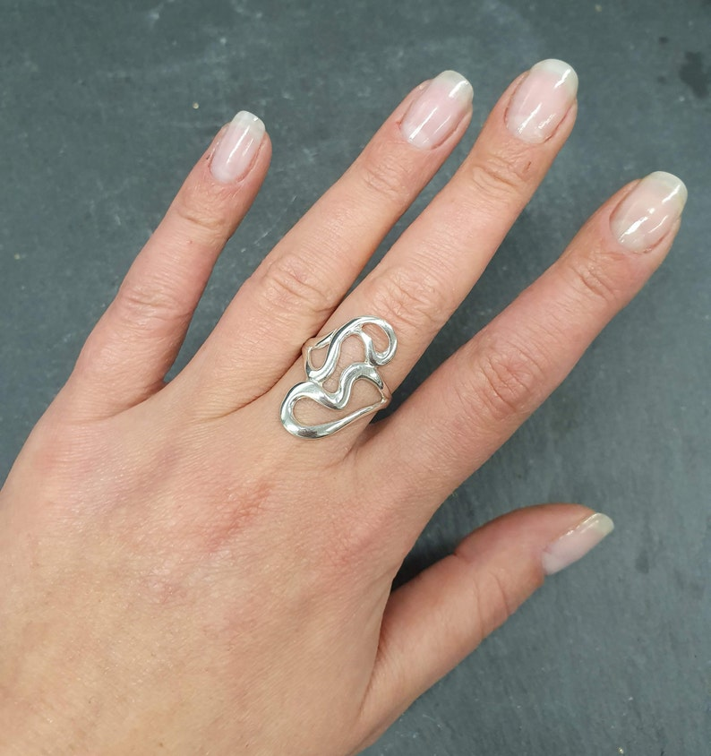 Abstract Heart Ring Solid Silver Ring Unique Silver Ring Tangled Ring Long Artistic Ring Statement Ring Abstract Ring Asymmetric Ring