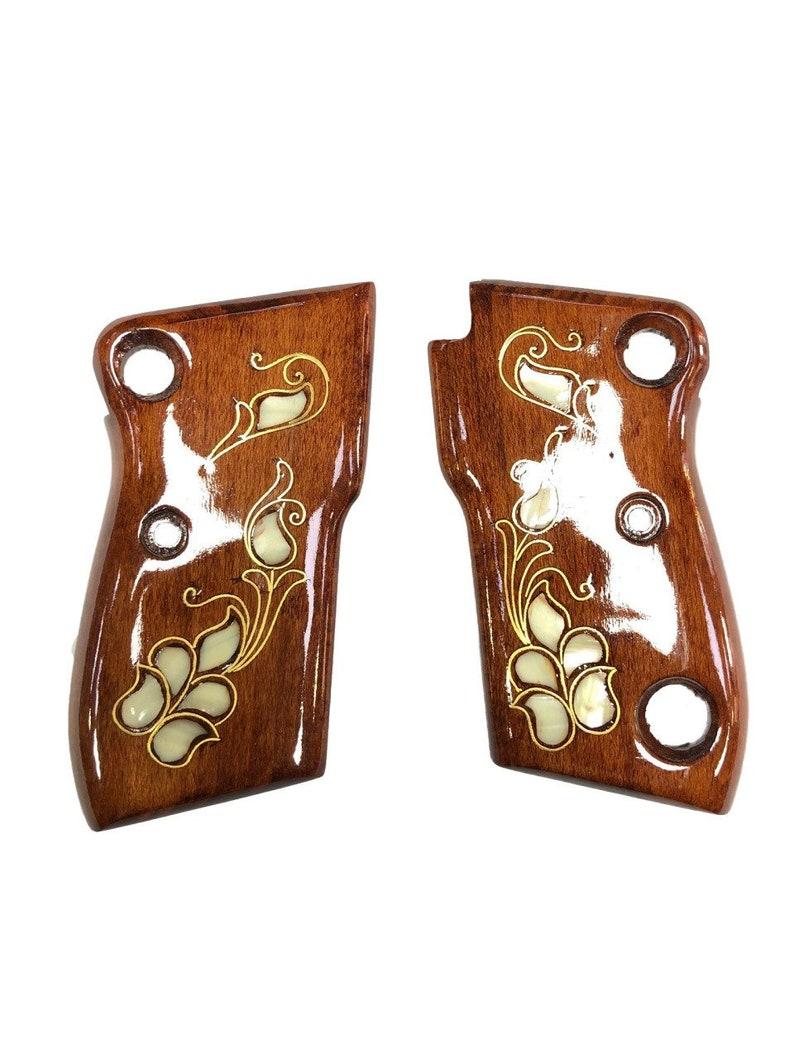 Beretta Model F81// F84 Grips Set Walnut Wood floral desing