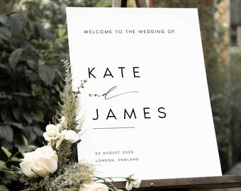 Minimalist Wedding Welcome Sign, Welcome Wedding Sign, Script Wedding Welcome Sign, Modern Wedding Signs, Large Wedding Sign, #KATE