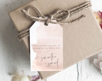 Heart Wedding Tags Favor Tag Printable Pink Watercolor Wedding Favor Tag Editable Wedding Thank You Tags LSS109 Instant Download