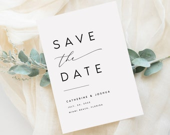 INSTANT DOWNLOAD Modern Save the Date Template Simple Save the Date Printable Save our Date Wedding Announcement Card 100/% Editable