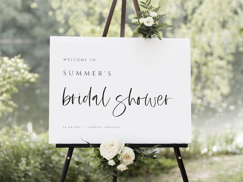 Landscape Bridal Shower Sign Instant Download Modern Bridal Shower Welcome Sign PRINTABLE Minimalist Welcome Sign Template #SUMMER