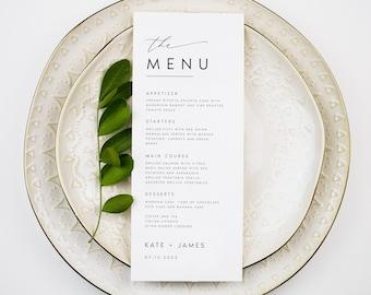 Minimalist Wedding Menu Template, Modern Script Wedding Dinner Menu, Printable, Digital Download, Reception Dinner Menu Editable, DIY, #KATE