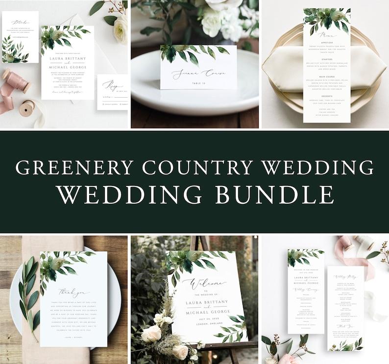 Digital Download #GRN65T Editable Greenery Wedding Template Bundle Wedding Stationery Template Elegant DIY Invitation Set Foliage