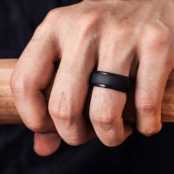 Mens /& Womens Premium SILICONE RING  Band Heavy Duty Black Wedding Rings Active Life Style