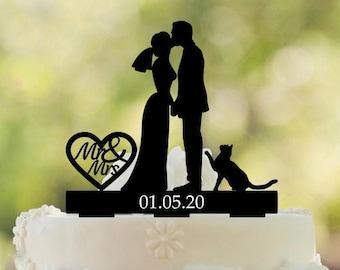 Wedding Party  ~Running Groom-Game Over Sign~ Cake Topper Dark Hair on Both