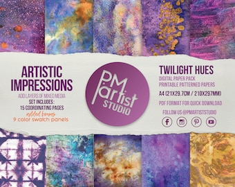 DIGITAL PRINTABLE PAPER A4 | Twilight Hues | Rich Purples, Blues, Yellows and Oranges at Dusk | Collage, Glue Booking, Art Mixed Media