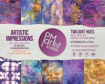 DIGITAL PRINTABLES LTR | Twilight Hues | Rich Purples, Blues, Yellows and Oranges at Dusk | Collage, Glue Booking, Art Mixed Media