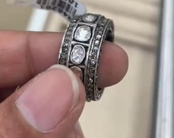Natural Rose Cut Diamond Pave Diamond Ring Solid 925k Sterling Silver Handmade Victorian Jewelry Ring Jewelry PoonamArtJewels