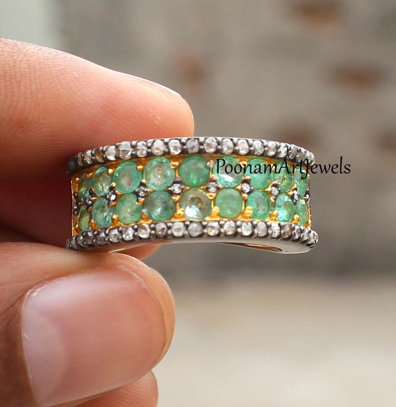 Diamond Ring Natural Rose Cut Diamond Pave Diamond Emerald Ring Solid 925 Sterling Silver Handmade Victorian Jewelry Silver Ring Jewelry
