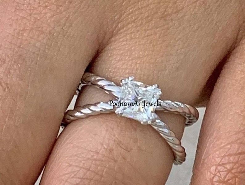 Moissanite Ring Natural Moissanite Ring Solid 925 Sterling Silver Handmade Victorian Ring Jewelry Silver Ring PoonamArtJewels