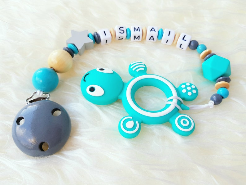 Pacifier chain Bite necklace Young turtle with name