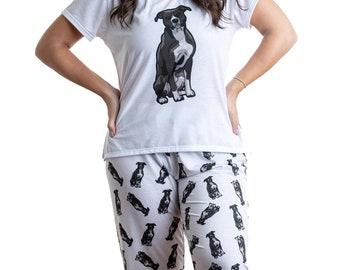 Mens Pitbull Silhouette Jogger Shorts Pajama Short