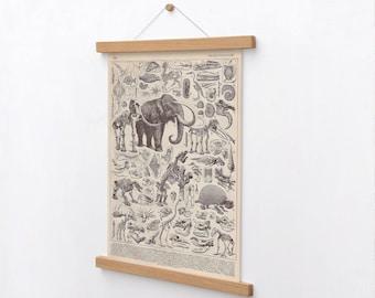 Mammoth Prehistoric Animal Poster, Dinosaur Skeleton, Primitive animals, Antediluvian Fossils, Old World, Paleontology Science poster