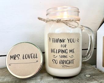 Personalized Teacher Candle, Teacher Gift, Teacher Appreciation Gift, Teacher Gift from Class, Thank you Gift Teacher, 16 oz Soy Candle