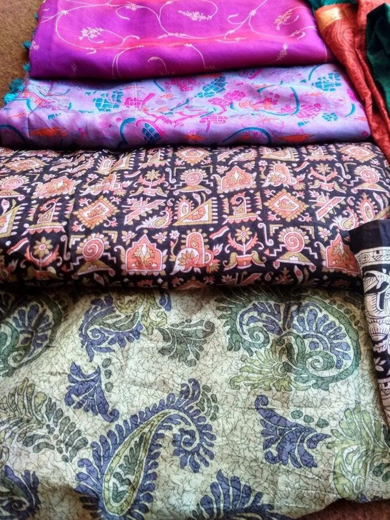 Indian Vintage Silk Fabric Silk Scrap Bag Silk Fabric Ethnic Fabric Remnants Sewing By Weight