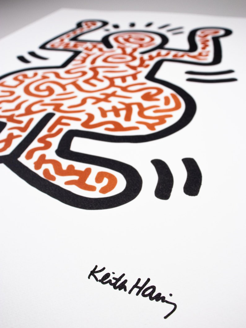 Limited 51150 pcs. Blindstamp KEITH HARING 1980s Handnumbered Original Lithograph with Keith Haring Foundation Inc