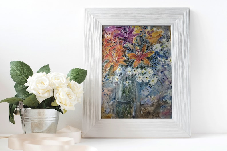 Daisy Lily Watercolor Painting Floral Bouquet Graphics Lily Chamomile Flowers Sketch Original  Home Decor 14x9 inc By Tanya Knyazeva