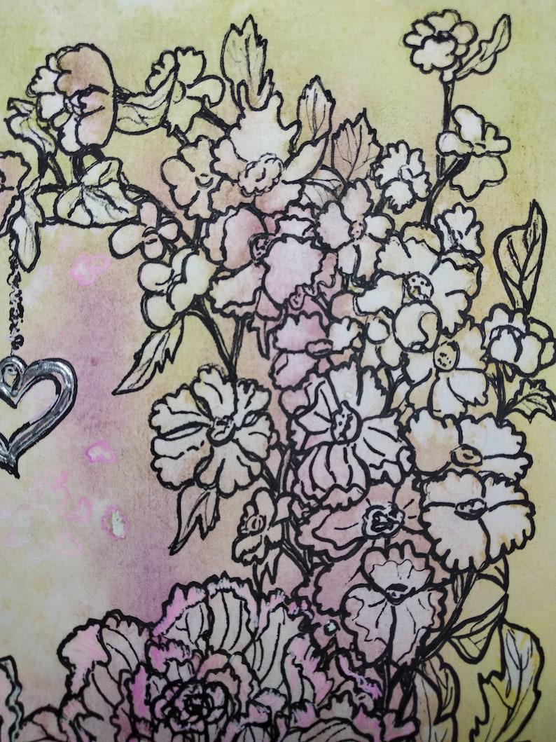 Hearts Watercolor Painting Floral Abstract Graphics Flowers Romantic Sketch Original Home Decor Artwork 10x7 inc ByTanya Knyazeva