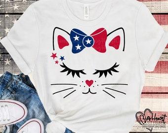 4th of July Svg Patriotic Kitty Cat Svg Jpg 4th of July Cat Svg Dxf Silhouette Png Happy Birthday America Svg America Svg Cricut