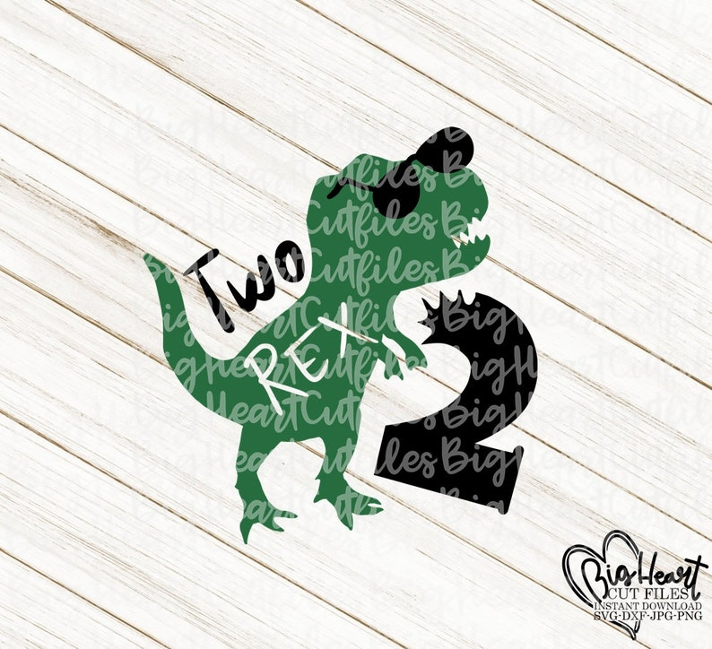 Two Rex Dinosaur Svg Png,Jpg,Dxf Dinosaur Svg 2nd Birthday Svg,Second Birthday Svg T Rex Cut Files,Silhouette,Cricut T Rex Birthday Svg