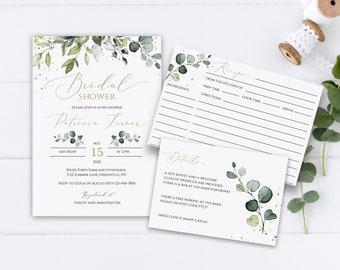 Editable Foliage Printable Bridal Shower Invitation Details Card and Recipe Card Template Bridal Shower Invitation Template Download PTCP