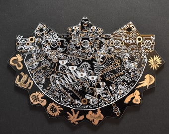 Chernobylizer - PCB only. Black and Gold, Custom Made Noise Art Synth, FX Synthesiser, PCB Art, Sound Art, Noise Instrument