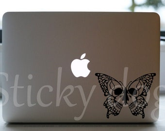 butterfly skull silhouette insect sticker