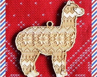 Alpaca Wood engraved Dog silhouette ornament